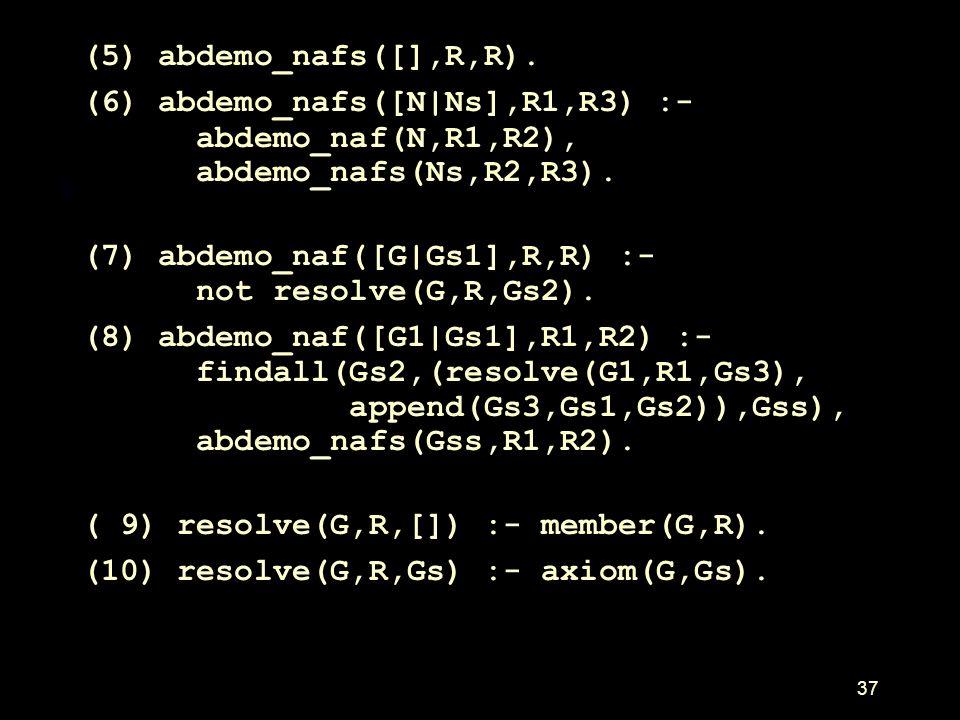 (5) abdemo_nafs([],R,R). (6) abdemo_nafs([N|Ns],R1,R3) :- abdemo_naf(N,R1,R2), abdemo_nafs(Ns,R2,R3).